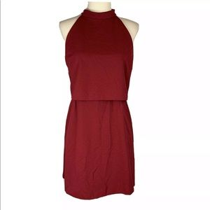 ASOS Red Halter Dress Tiered Lined Size 8 Petite